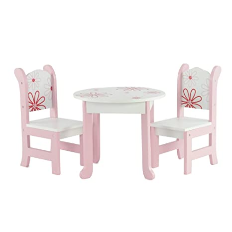 18 Inch Doll Furniture Fits 18 American Girl Dolls Floral Table And Chairs