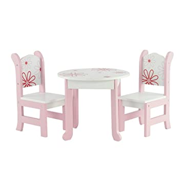 18 Inch Doll Furniture Fits 18u0026quot; American Girl Dolls   Floral Table And  Chairs