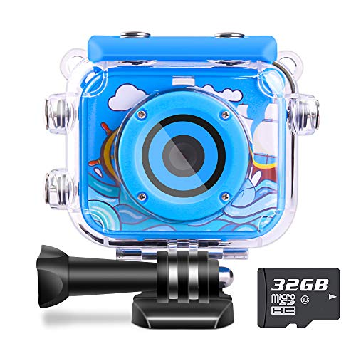 Waterproof Kids Camera Camcorder 12MP HD Kids Action Camera Video Recorder Underwater 32G SD Card - Birthday, Christmas, Festival Gifts for 4-12 Boys (Blue)