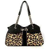 Petote Leopard Metro Couture Designer Dog Purse - Small