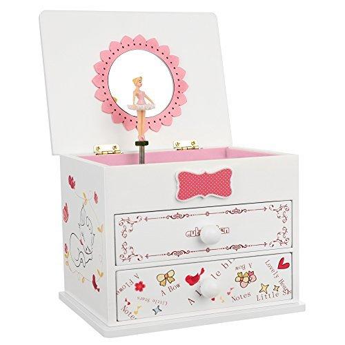 SONGMICS Ballerina Music Jewelry Box Wooden Storage Case for Little Girls, Cartoon Cat, Fur Elise Melody, White UJMC22WT
