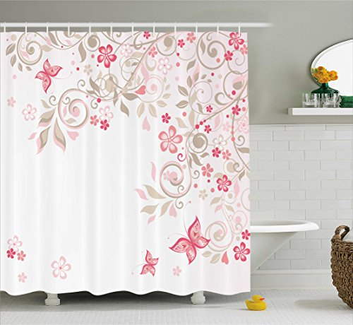 Pink Cocoa Dot (Floral Shower Curtain by Ambesonne, Curly Branches Wildflowers Butterflies Dots Romantic Bridal Wedding Theme, Fabric Bathroom Decor Set with Hooks, 70 Inches, Pink Cocoa Light Pink)