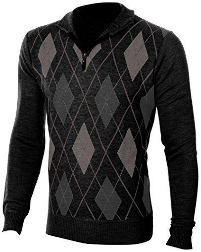 Enimay Mens Argyle V-Neck Golf Long Sleeve Sweater (Many Colors Available) Casual Argyle Charcoal (Mens Argyle V-neck Sweater)