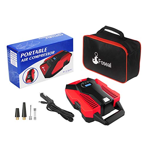 Foseal 1 Red Portable Air Compressor, 12V DC Digital Inflator 150 PSI Auto Shut-Off Easy to Use Pump with Emergency Led Light and Long Cable for Car Motorcycle Bicycle/Schrader Tires Ball by Foseal (Image #7)
