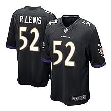 52 Ray Lewis Baltimore Game Mens Football Jersey Black