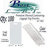 """5 mil Premium Luggage Tag with Slot Laminating Pouches 2 1/2"""" x 4 1/4"""" & 6"""" Loops Straps Worms -- Qty: 100 (Clear)"""