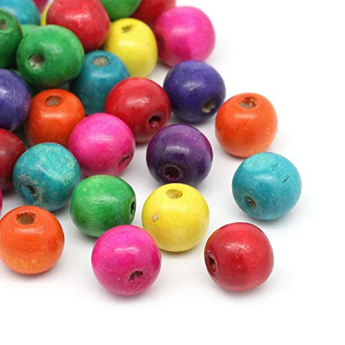 (400 Round Painted Multi Color Wood Beads 14mm x 13mm Diameter 4.5mm Large Hole)