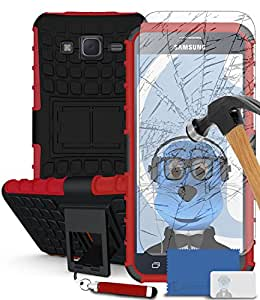 iTALKonline Samsung Galaxy Core Prime SM-G360 Red Black Tough Hard Shock Proof Rugged Heavy Duty Case Cover with Viewing Stand with Tempered Glass Protective LCD Screen Protector with MicroFibre Polishing Cleaning Cloth Application Card and Headphone mount 3.5mm Retractable Mini Stylus Pen