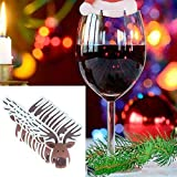Chenway20 Pcs Christmas Santa Claus Hat Red Wine Cup Card Christmas Hat Cup Card Decoration, Cute Lovely Gift Artificial Craft Gifts Mini Christmas Wine Cup Sign Festival Party Decor (B)