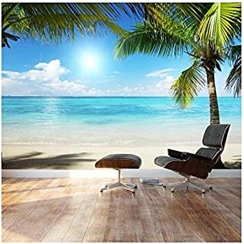 Paradise Sandy Beach Palm Trees Photo Wallpaper Wall Mural Pre-pasted Sticker