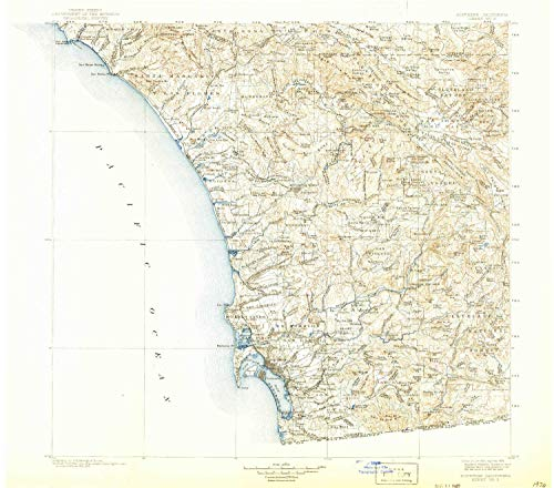 (YellowMaps Southern California Sheet No 2 CA topo map, 1:250000 Scale, 1 X 1 Degree, Historical, 1904, Updated 1924, 19.7 x 22.4 in - Paper)