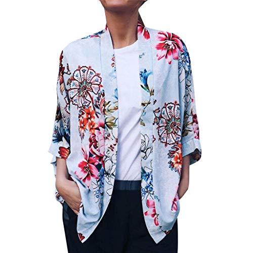 Pretty Cardigan Womens Floral Printing Open Cape Casual Blouse Kimono Jacket Blue