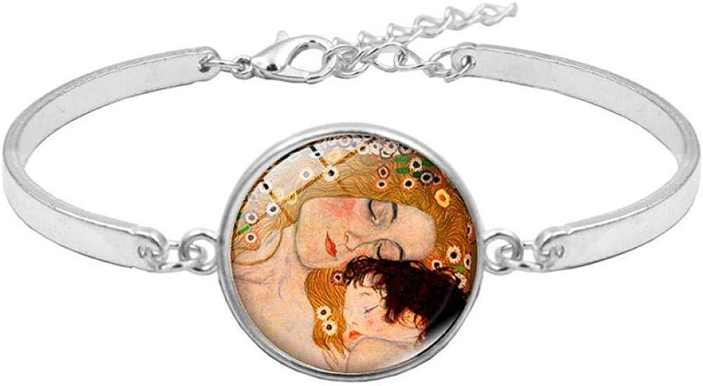 Drreny Klimt Kiss Time Ensemble de Collier de Pierres pr/écieuses Bracelet en Argent Ensemble de Bijoux
