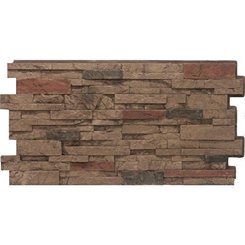 Urestone Stacked Stone #25 Mocha 24 in x 48 in Stone Veneer Panel 4Pack