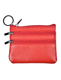 Yeeasy Womens Mini Coin Purse Wallet Genuine Leather Zipper Pouch with Key Ring (Red)