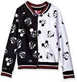 Disney Girls' Big Minnie Mouse Bomber Jacket, Black/White, 10