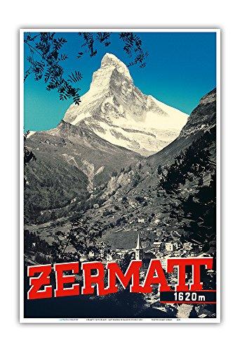 Zermatt, Switzerland - Matterhorn Mountain (Cervin) - Swiss Alps - Vintage World Travel Poster by Emanuel Gyger c.1938 - Master Art Print - 13in x 19in (Swiss Art)
