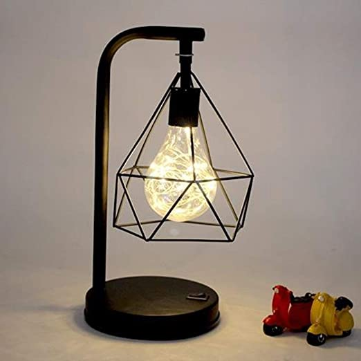 Decoration Diamond Iron Table Lamp Decorative Mood Light Night Light With Fairy Starry String Lights Bedside Table Lamp Battery Operated Decorative Lighting Table Lamps Amazon Canada
