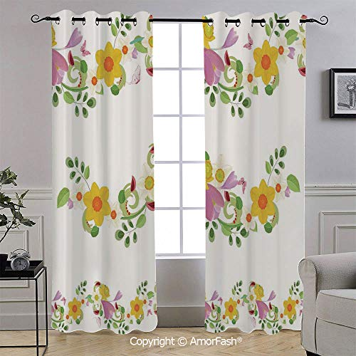 AmorFash Daffodil Blackout Curtains,Thermal Insulated Soundproof Curtain Panels,Light Blocking Drapes,52x108 Inch,Horizontal Leaf and Flower Motifs Laurel Fairy Mother Earth Habitat Gardening Theme ()