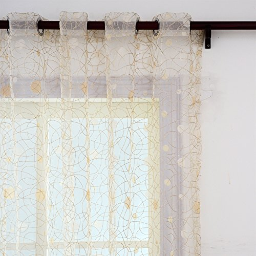 Top Finel Embroidered Window Treatments Panels Sheer curtains Polka Dot Bird Nest 54-inch Width X 96-inch Length,Grommets,Single panel,Light Yellow