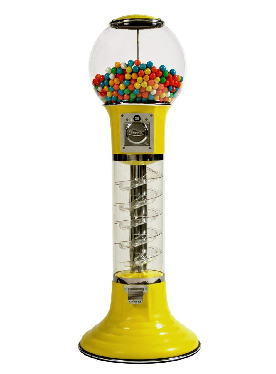 Wiz-Kid Wizard Spiral Gumball Vending Machine Height 4' - $0.25 - (Yellow)
