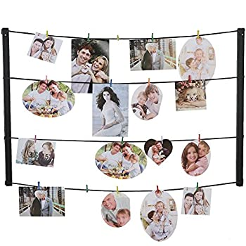 Giftgarden Photo Display Wall Hanging Picture Holder With 24 Clips & Ajustable Twines - Collage Artworks Prints Multi Pictures Organizer & Hanging Display for 5x7 and 4x6 and 3.5x5 and 4x4