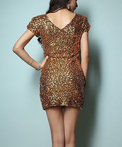 Gold Wedding Holiday with Sparkly Plung Gold Sleeves Sequin Small Medium Guest Dress Mini Bodycon xwPwXICqH