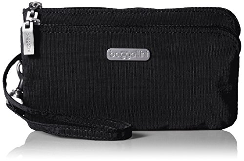 Baggallini Double Zip Wristlet with RFID Protection - Lightweight Wristlet with Zipped Compartments for Smart Phones and More