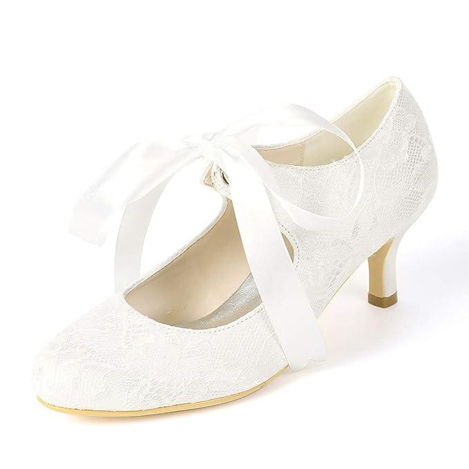 Moojm Zapatos para mujer, tacones altos punta redonda 6cms ...