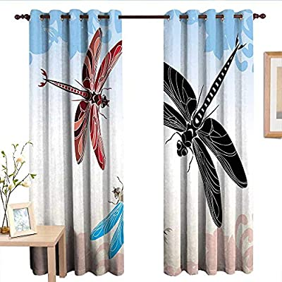 TimBeve Window Curtains Dragonfly,Exotic Dragonflies Flying in Cloud Sky Animal Wing Nature Illustration,Black Blue Light Pink.jpg,Tie Up Window Drapes Living Room
