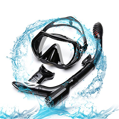 FYU Snorkel Set with Tempered Glass Dry Top Snorkel Set/Anti-Fog Lens, Diving Mask for Adults Women Men Snorkeling Diving