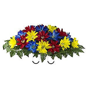 Red Yellow Blue Dahlia Mix Artificial Saddle Arrangement (SD2135) 53