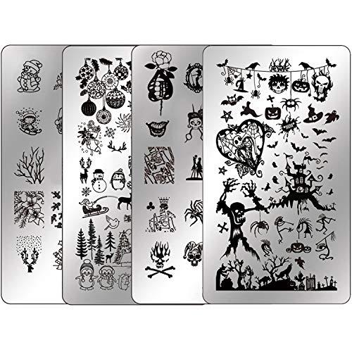Cute Halloween Nails For Beginners (Nail Stamping Plates Halloween Nail Stamping Kit - Ejiubas Stamper Plates Nail Polish Stamping Kit Nail Plates Christmas Nail Stamping Templates Nail Plates Set EJB-X07)