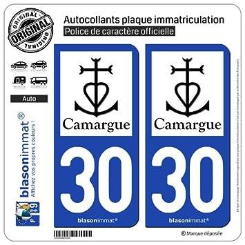 blasonimmat 2 Autocollants plaque immatriculation Auto 30 Camargue - Croix  Camarguaise f4c973c30bb