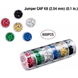 600 PCS 2.54mm Colorful Jumper Caps Kit, 6 Layer Superimposed Parts Box Package.