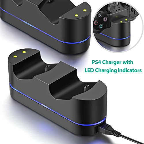 ICESPRING Playstation 4 Charger Kit, PS4 Dual USB Charging Charger Dock Station Stand for PS4 Controller Charger