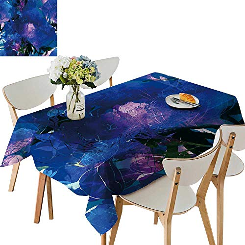 (UHOO2018 Square/Rectangle Tablecloth Waterproof Polyester Imprints Freesia emone Digital Drawn mixe Wedding Birthday Party,54 x120inch.)