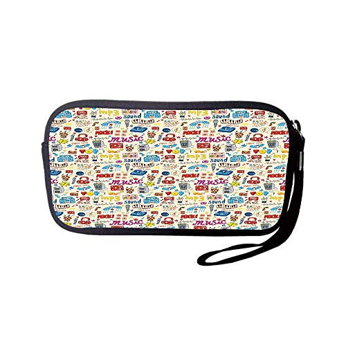 (iPrint Neoprene Wristlet Wallet Bag,Coin Pouch,Music,Retro Pop Art Style Music Icons Casette Tapes Records Rock Headphones DJ Kids Image,Multicolor,for Women and Kids)