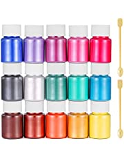 Mica Powders 15pcs x 10g, Epoxy Resin Pigment Natural Colorant and 2pcs Spoon, Use for Epoxy Res