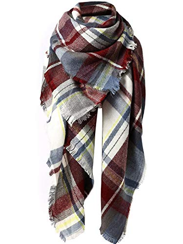 Zando Women's Fall Winter Scarf Plaid Scarf Warm Soft Chunky Large Blanket Wrap Shawl Scarves Fuchsia