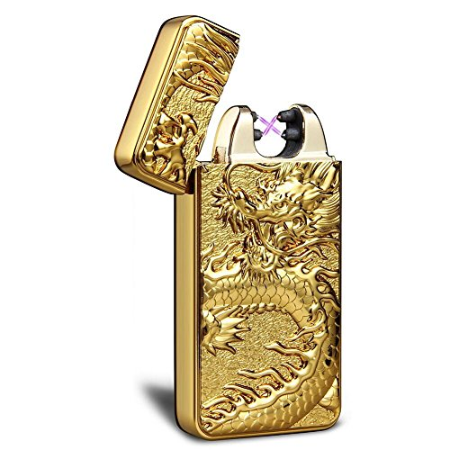 Kivors USB Rechargeable Windproof Flameless Electronic Double Pulse Arc Cigarette Lighter Belief Chinese Dragon (Gold Lighter)