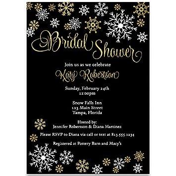 winter bridal shower invitations wedding shower black and white glitter gold