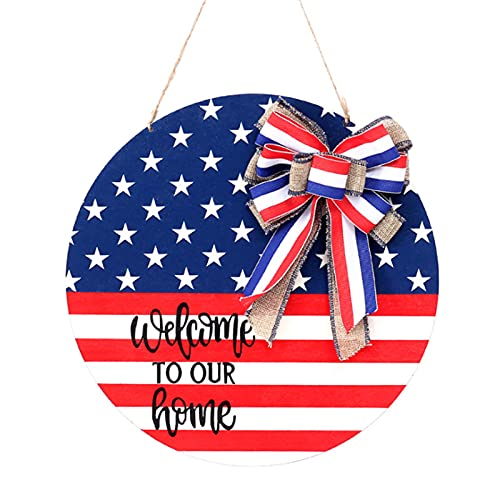 LUKETURE American Independence Day Wooden Door Decoration Ornament Listing Flag Home Holiday Decoration Door Hanging Board Plate Wooden Door Hangers Outdoor Hanging Welcome Sign