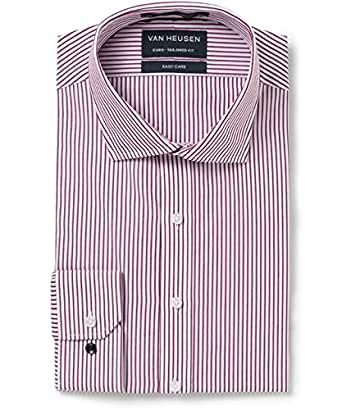 Van Heusen Men's Euro Fit Shirt Stripe, Oxblood, 40