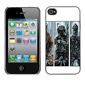 Caucho caso de Shell duro de la cubierta de accesorios de protección BY RAYDREAMMM - iPhone 4 / 4S - B0Bba Fett - Bounty Hunter
