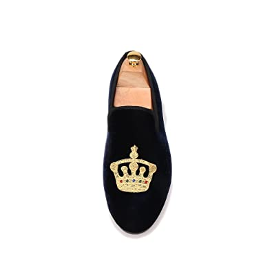 30118d547294c HI&HANN Men's Embroidered Velvet Loafer Shoes Slip-On Loafer Round ...