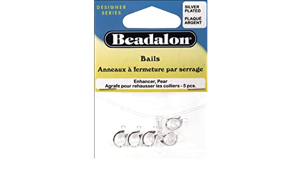 5-Piece Beadalon Enhancer Bail Pear Nickel Free Silver Plated