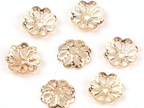 6 Bead Caps (Beautiful Bead 6mm Gold Tone Flower Bead Caps for Jewelry Making (About 500pcs) (6mm, Rose gold))