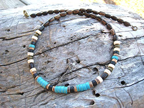 Imitation-Turquoise Heishi Wood Beaded Necklace Handmade Pick Your Size