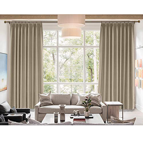 cololeaf Rosy Brown Curtain Panels/Rich Natural Linen Curtains,Pinch Pleated with White Lining,Light Blocking Drapery for Family Room Dining Romm Kidroom Library,72W x 84L Inch (1 Panel)